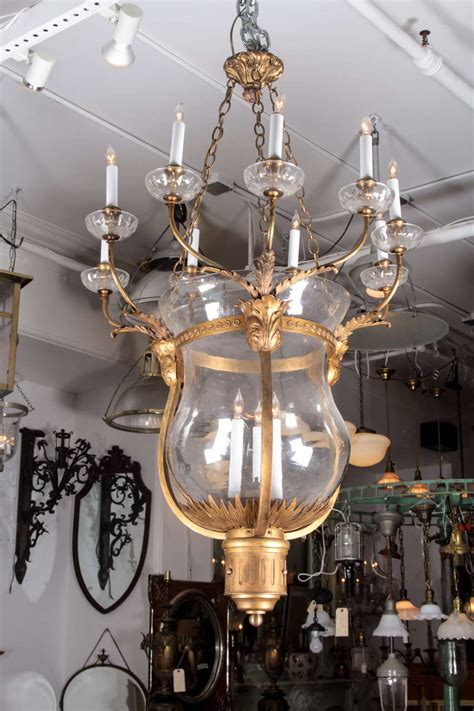 Oversized Bronze And Glass Bell Jar Chandelier From The Hotel Chandeliers For Sale
