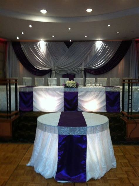 how to drape fabric for a wedding reception wedding reception head table bling ribbon table