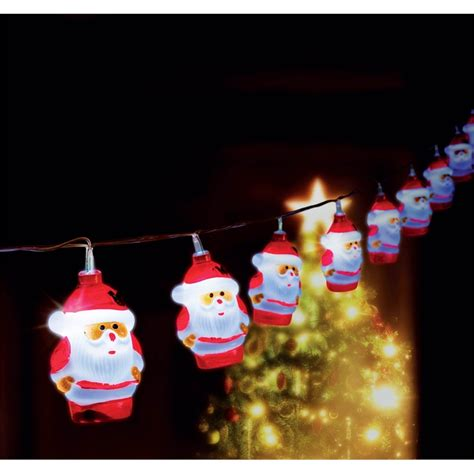 Kringle 10 Led Festive Light Solar Santa String I N Santa String Lights