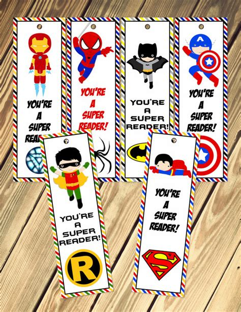 printable bookmarks superheroes super hero bookmarks printable