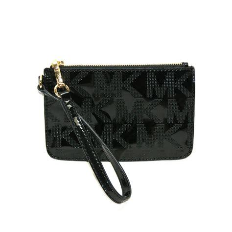Mk Black michael kors jet set mk signature mirror metallic black patent leather wristlet 38h3xjsw1z