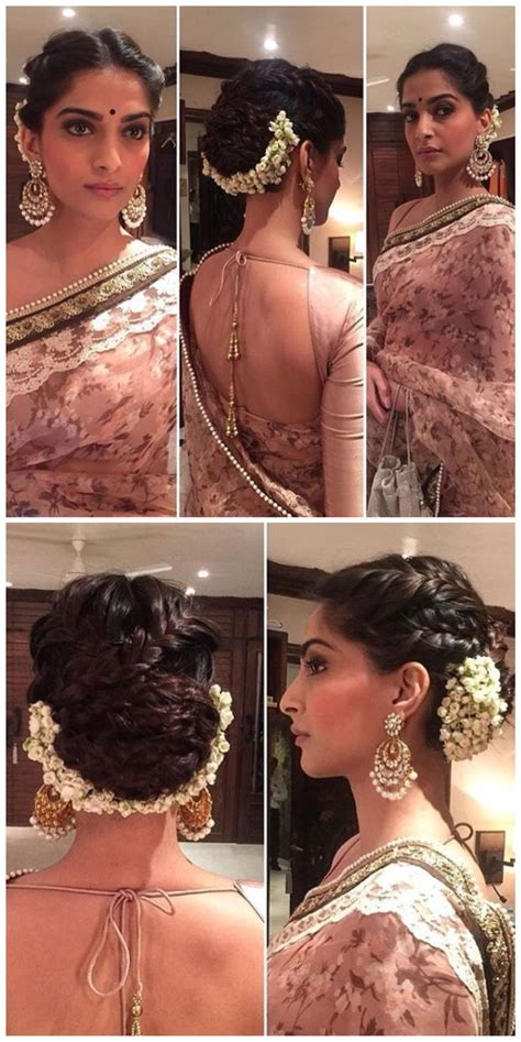 braided hairstyles on saree sonam kapoor s hairstyle is on fleek for a wedding love