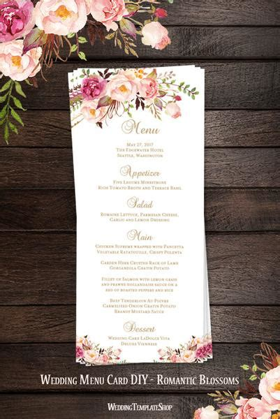 wedding menu card templates diy wedding menu card blossoms tea length printable