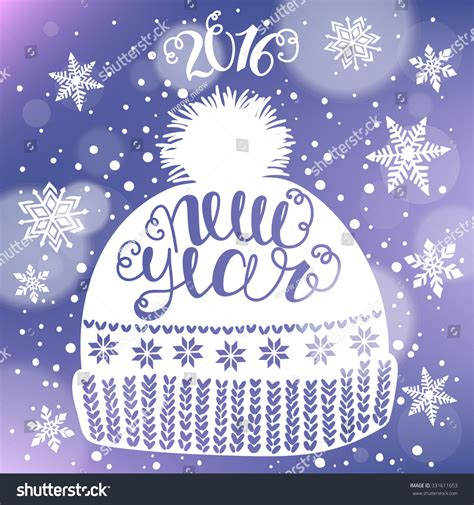 New Year Card Template 2016 by New Year 2016 Card Poster Template With Hat Cap