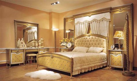 luxurious bedroom sets 4 pc zeus european golden luxury bedroom set with large