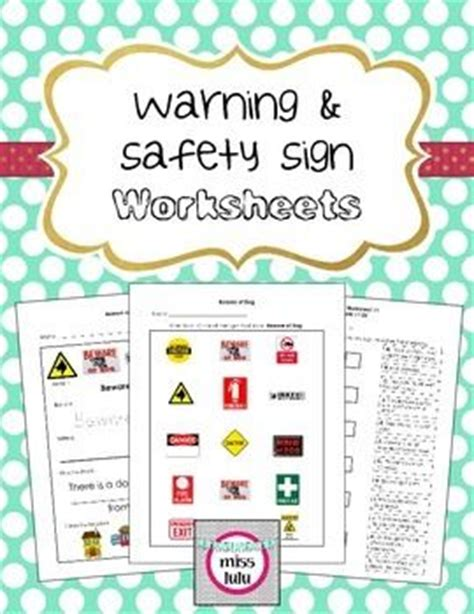 Safety Signs Worksheets by Warning Safety Signs Worksheets