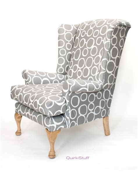 Gray And White Armchair Quirkistuff Seats Wingback Armchair Grey White