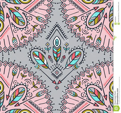 hippie tribal pattern vector seamless pattern with ethnic arrows feathers and