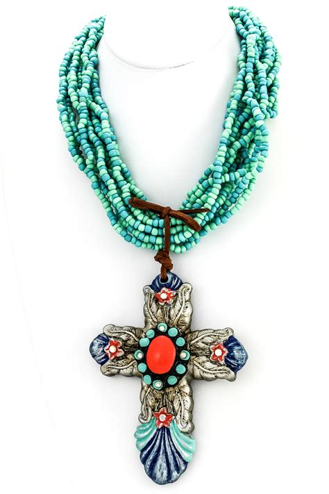 Handmade Cross Necklaces - handmade clay cross pendant necklace necklaces