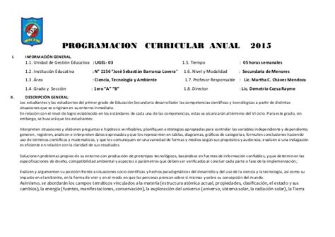 programacion de cta anual 2015 programacion curricular programacion curricular anual de cta 1 186 ccesa1156