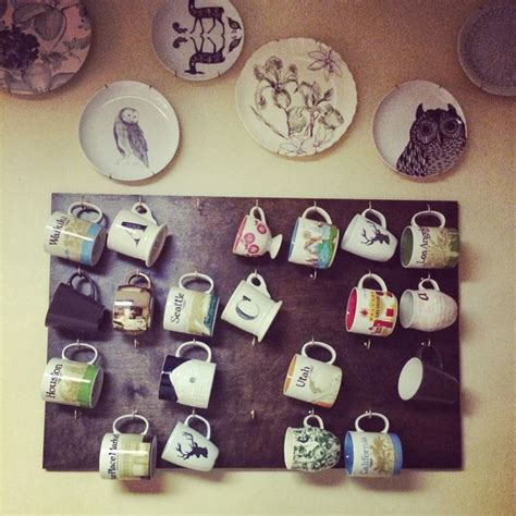 diy wall coffee mug rack for the home
