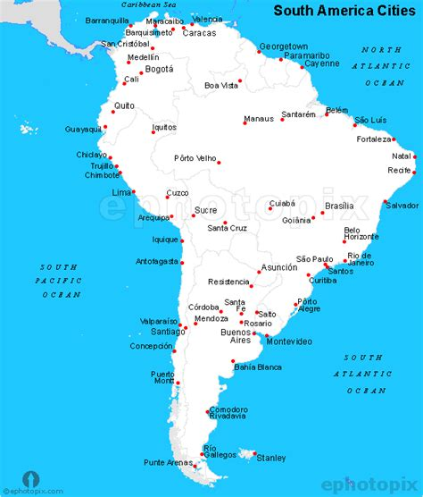 south america major cities map south america cities map cities map of south america