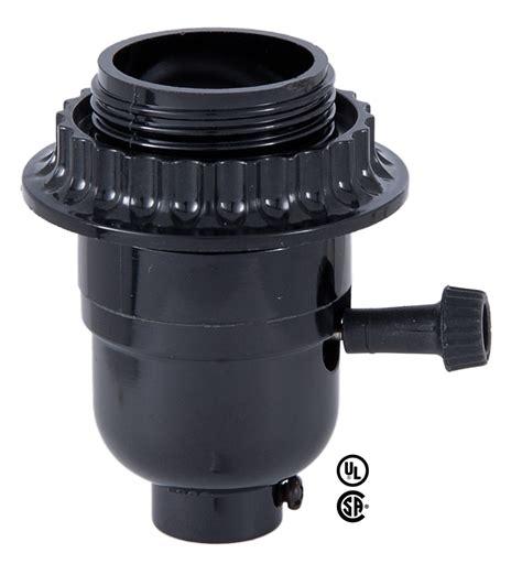 threaded light socket ring medium base e26 3 way turn knob black phenolic l