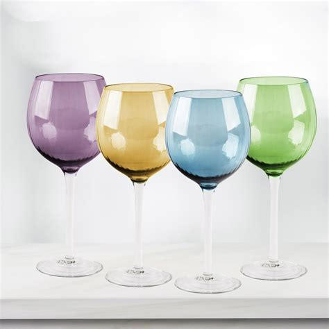 colored wine glasses home essentials and beyond 4 colored wine