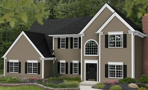 vinyl siding color tuscan clay white trim gray roof house ideas vinyl