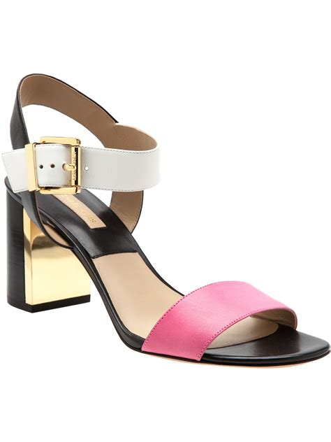 pink sandal heels michael kors chunky heel sandal in pink pink purple lyst