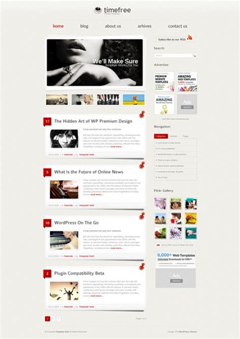 timefree wordpress template wp personal creative