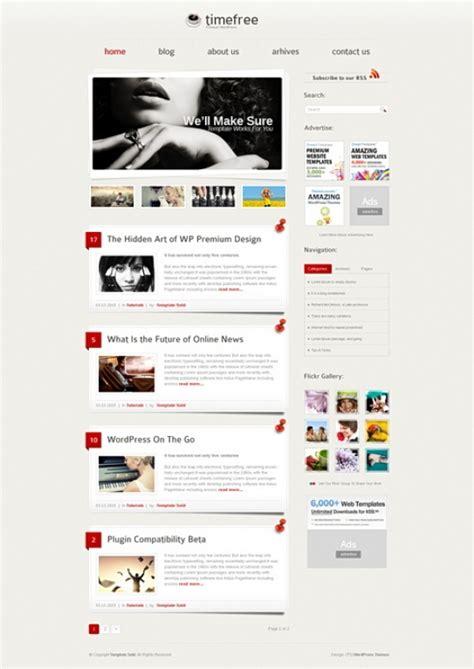 timefree wordpress template wp personal creative