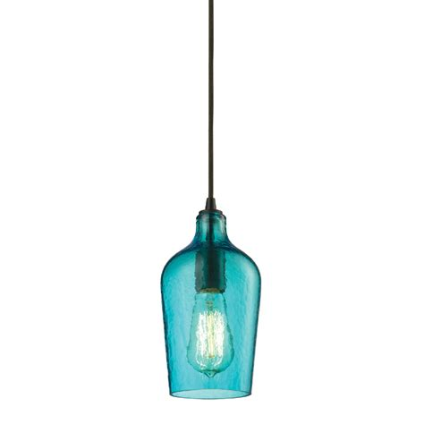 Aqua Pendant Lights with District17 Hammered Aqua Glass Mini Pendant In Rubbed Bronze Pendant Lights