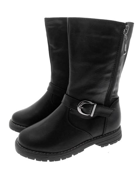 buckle biker boots kids girls faux leather mid calf riding biker boots buckle