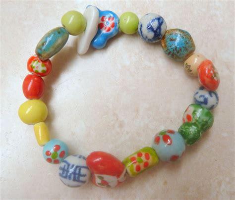 Handmade Stretch Bracelets - vintage style vibrant handmade bead stretch bracelet