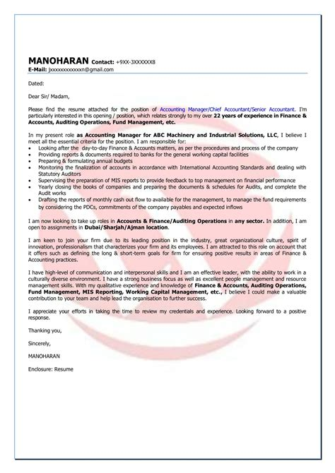 accounting cover letters accounting sle cover letter format cover