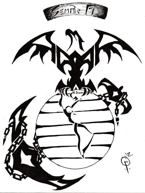 usmc tribal tattoos tribal marine by goodly8663 on deviantart