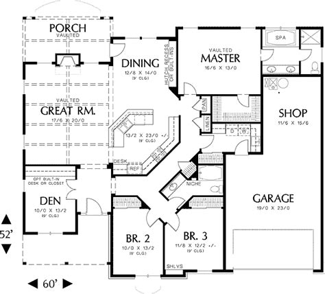 One Story House Plan Single Story Homes On Tile Flooring 3 Car