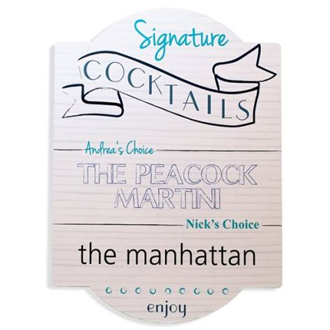 personalized signature cocktail bar sign