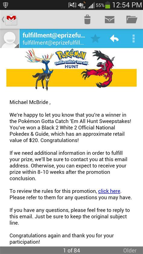 I Won A Sweepstakes - i won sweepstakes pokemon