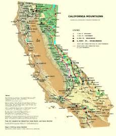 southern california mountain ranges map california prominence map