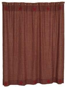 primitive burgundy homespun shower curtain