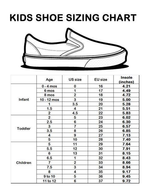 kids shoe size chart sizing chart baby clothes shoe