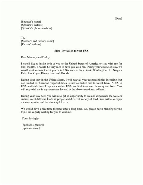 American Embassy Letter Of Invitation Sle Visitor Visa Cover Letter