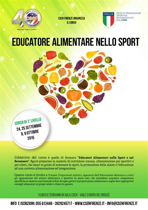 corso alimentare corso educatore alimentare nello sport csenfirenze