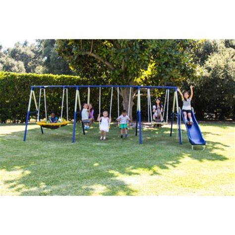 walmart outdoor swing sets sportspower outdoor super 8 fun metal swing and slide set