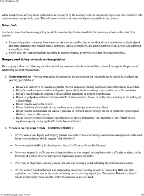 Download Visser Trucking Company Safety Policy Template For Free Page 150 Formtemplate Trucking Safety Program Template