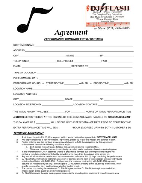 dj service contract template 9 best images of dj contract agreement template dj