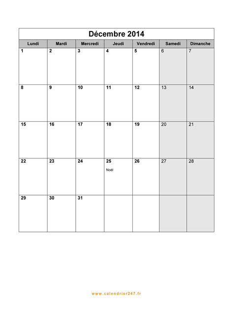 Calendrier Decembre 2014 Calendrier D 233 Cembre 2014 224 Imprimer Gratuit En Pdf Et Excel
