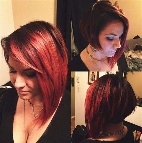how to cut the perfect asymmetrical bob on thick hair asymmetrical bob with side swept bangs www pixshark com