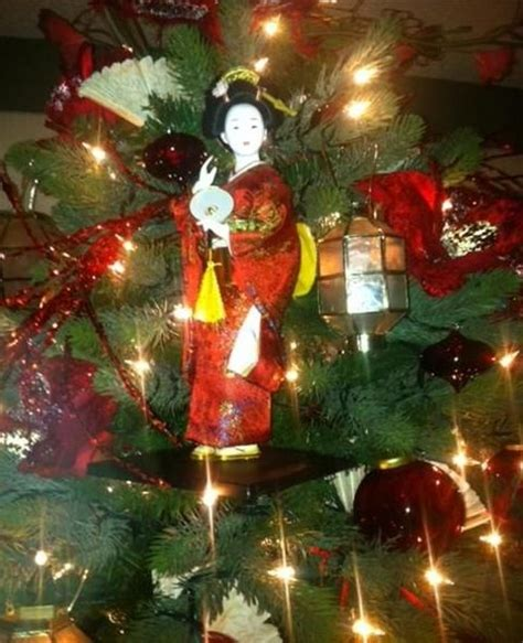 japanese themed christmas tree asian inspired tree with geishas asian themed trees