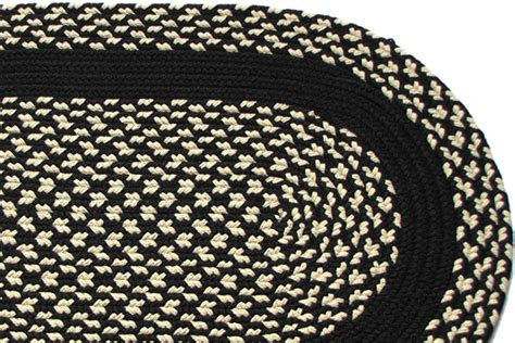 black and white braided rug black black band braided rug