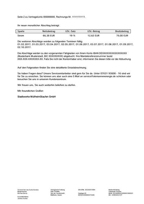 Musterrechnung Abschlagszahlung Musterrechnung Strom Stadtwerke M 252 Llheim Staufen