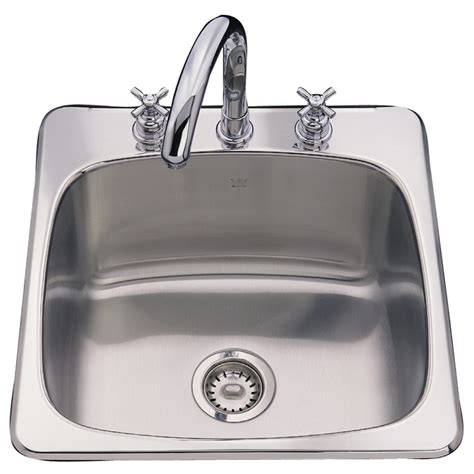 drop in stainless steel kitchen sinks shop franke usa axis 20 125 in x 20 5625 in silk deck and