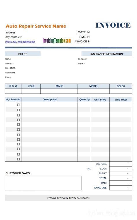 Repair Shop Invoice Invoice Template Ideas Shop Invoice Template