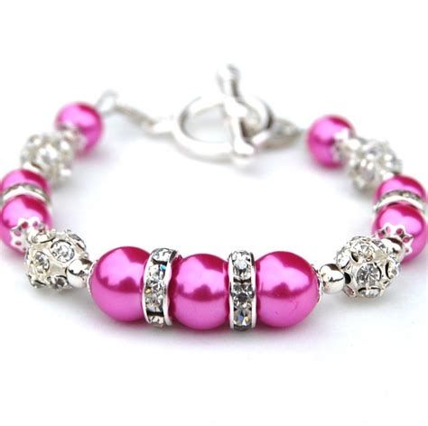 Dress Pearl Hotpink pink pearl sparkling bracelet bridesmaid jewelry