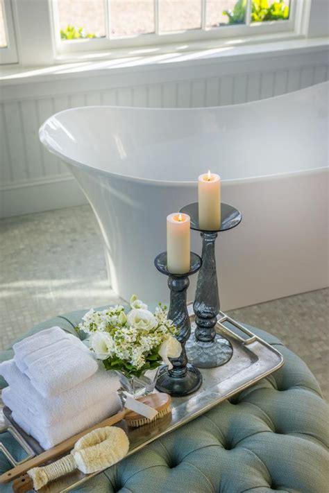 bathroom ottoman charming bathroom with tufted ottoman hgtv