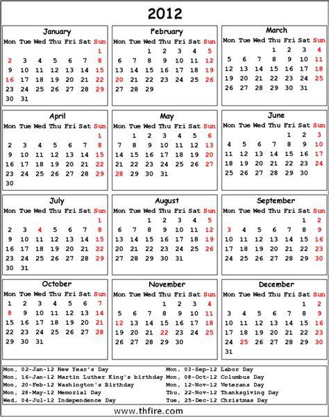 2012 Calendar With Holidays 2012 Calendar Thfire