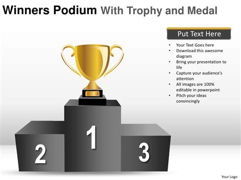 free ppt templates for winners winners podium with trophy and medal powerpoint