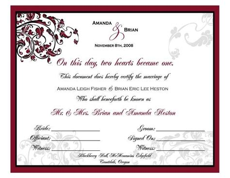 romantic vines personalized marriage certificate 8 x10